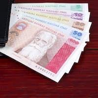 Latvian money in the black wallet