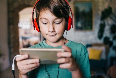 Boy playing videogames