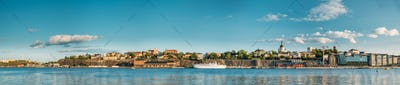 Stockholm, Sweden. Scenic Famous Panoramic View Of Embankment In