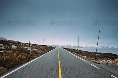 Hardangervidda Scenic Route Road In Norwegian Countryside Landsc