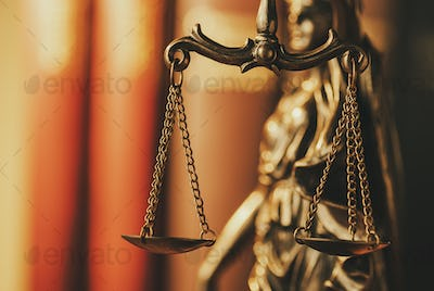 Brass Scales of Justice in a close up view