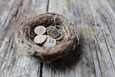Retirement savings British pound coins in birds nest egg