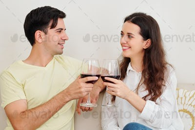 Couple having small date at home