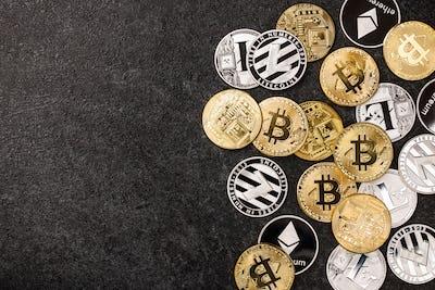 Bitcoin, Ethereum, Litecoin coins on black background