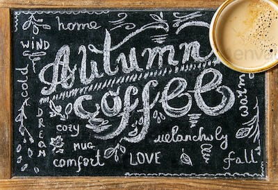 Chalkboard with Autumn lettering