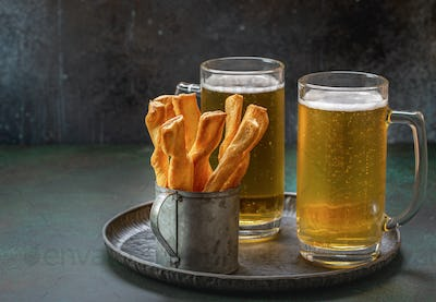 Salted crunchy snacks and beer