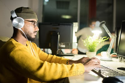 Computer Programmer Working Late