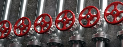 Industrial pipelines and valves with red wheels on gray wall background. 3d illustration