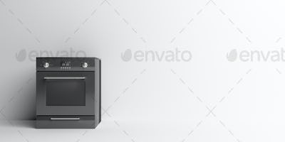 Electric stove oven home appliance, black color on white. 3d illustration