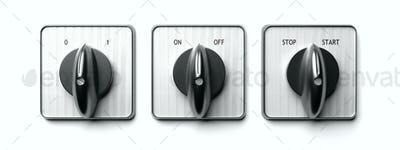 Start stop switch panel isolated on white. 3d illustration