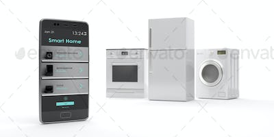 Home appliances set and smart phone on white background. 3d illustration