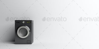 Clothes laundry home appliance. Washing, dryer machine black color on white. 3d illustration
