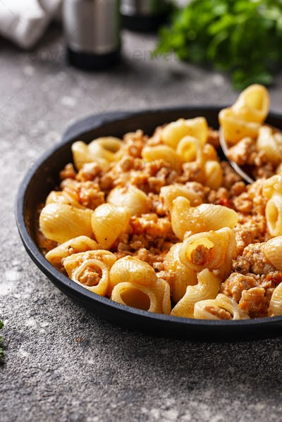 Pasta Bolognese with meat sauce