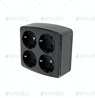 Black Electric adapter isolated on a white
