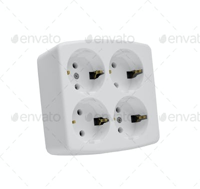 The electric adapter isolated on a white