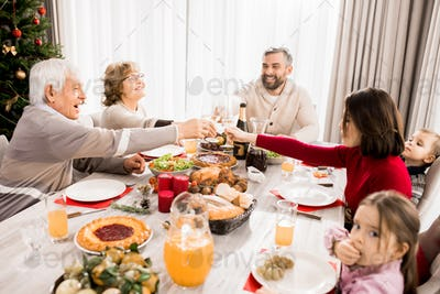 Family Enjoying Christmas Feast