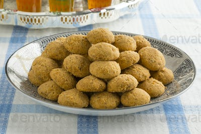 Traditional Moroccan cookies and tea