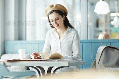 Girl preparing for seminar