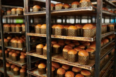 Ready delicious pastry at confectionery factory