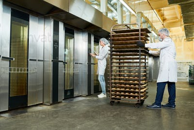 Confectionery factory workers transporting trays rack