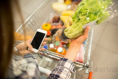 Young Woman using Groceries Shopping App