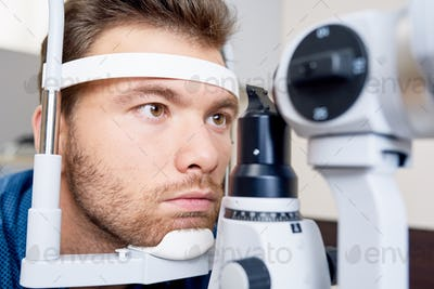 Patient at Ophthalmologists Close Up