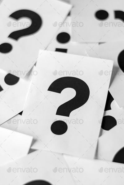White cards with question marks
