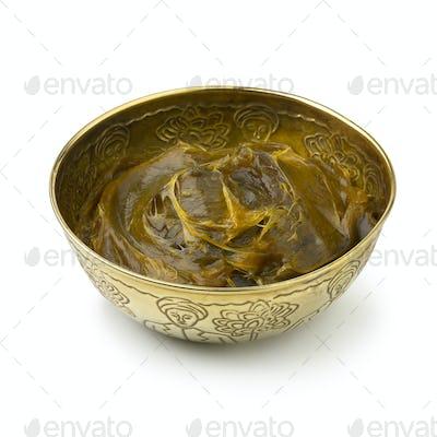 Savon Beldi in a metal cup