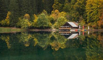 Fusine lakes on a calm autumn day