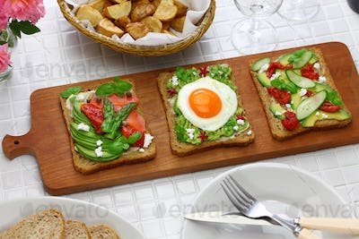 avocado toast open sandwich variety