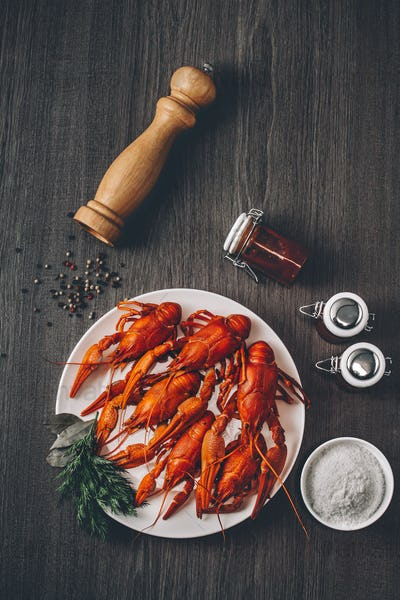 Boiled big red fresh crayfish in white plate with green herbs