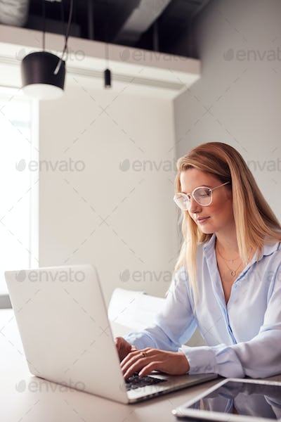 Casually Dressed Young Businesswoman Working On Laptop In Modern Meeting Room