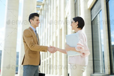 Positive business partners greeting each other