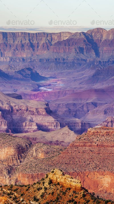 Vertical Composition Deep Gorge Colorado River Cuts Through the Grand Canyon