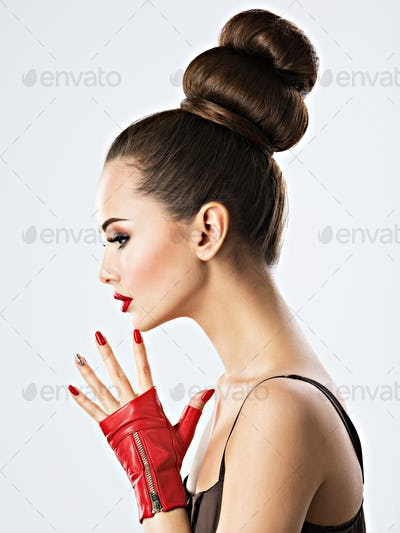 Beautiful sensual woman with red nails