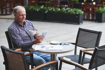 Videocalling mature man