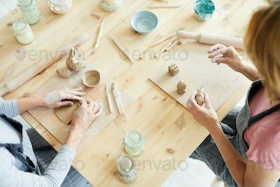 Clay craft in workshop