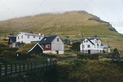 Small mountain village in Faroe Islands