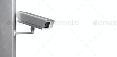 Surveillance cam,  CCTV system isolated on white background. 3d illustration