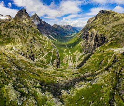Trollstigen or Trolls Path is a serpentine mountain road in Norway