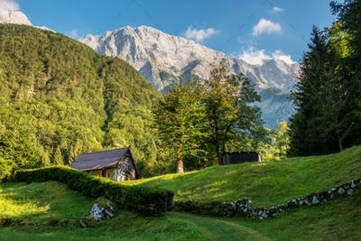 Old cottages in the mountains of the Julian Alps
