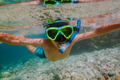 Child snorkeling in shallow sea.