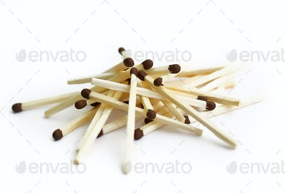 Matches on white background