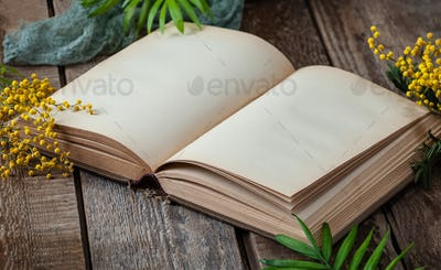 Opened book with blank pages on an old wooden table with mimosa
