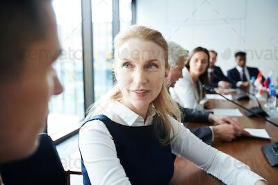 Mature Businesswoman in Meeting
