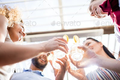 Friends Enjoying Cocktails at Party