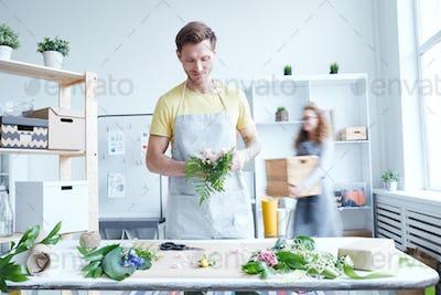 Florist in studio