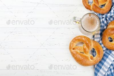 Oktoberfest backdrop. Pretzels and beer mug