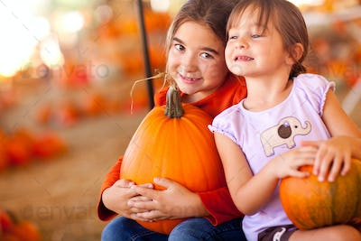 Little Girls Pumpkin Patch