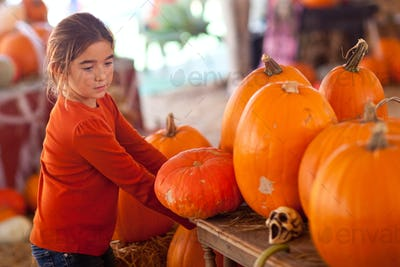 Little Girl Pumpkin Patch